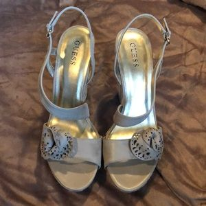 Tan Guess Wedge Sandals